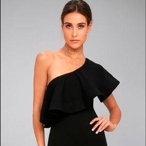 Black lulu's one shoulder dress, worn once